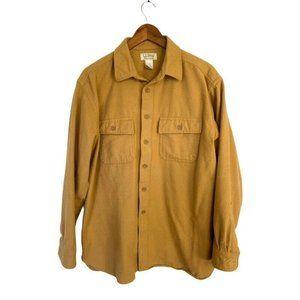 LL Bean Mens Chamois Cloth Button Shirt Tan Brown